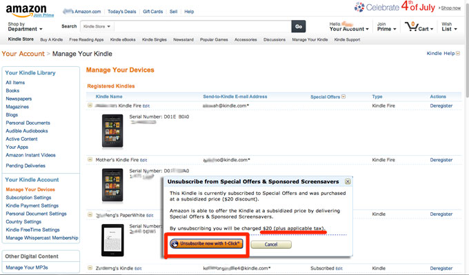 Remove Kindle Paperwhite Special Offers in Singapore
