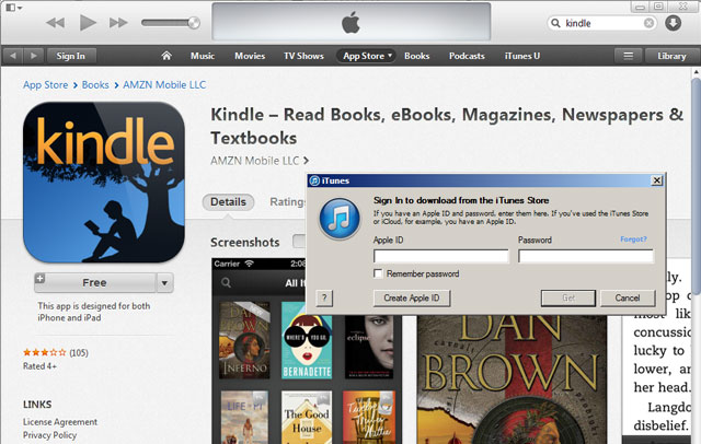 buy kindle e-book on iphone